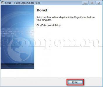 Завершение установки K-Lite Mega Codec Pack