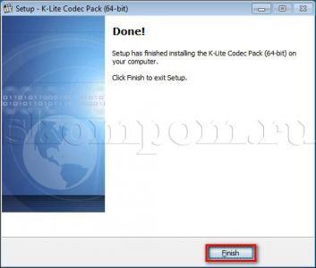 Завершение установки K-Lite Codec Pack 64-bit